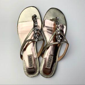 Badgley Mischka Flat Jeweled Sandals EUC